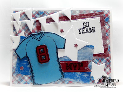 Our Daily Bread Designs Stamp Set: All-Star Jersey, Custom Dies: Sports Jersey, Pennant row, Pennant Flags, Sparkling Stars, Pierced Rectangles, Paper Collection: Old Glory
