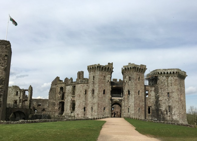 Raglan Castle - A Picnic with a View. front of castle