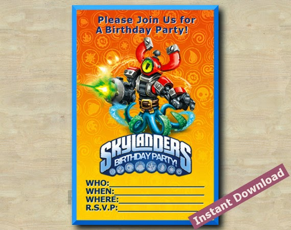 CUSTOM BIRTHDAY PARTY INVITATIONS Skylanders Invitation 02