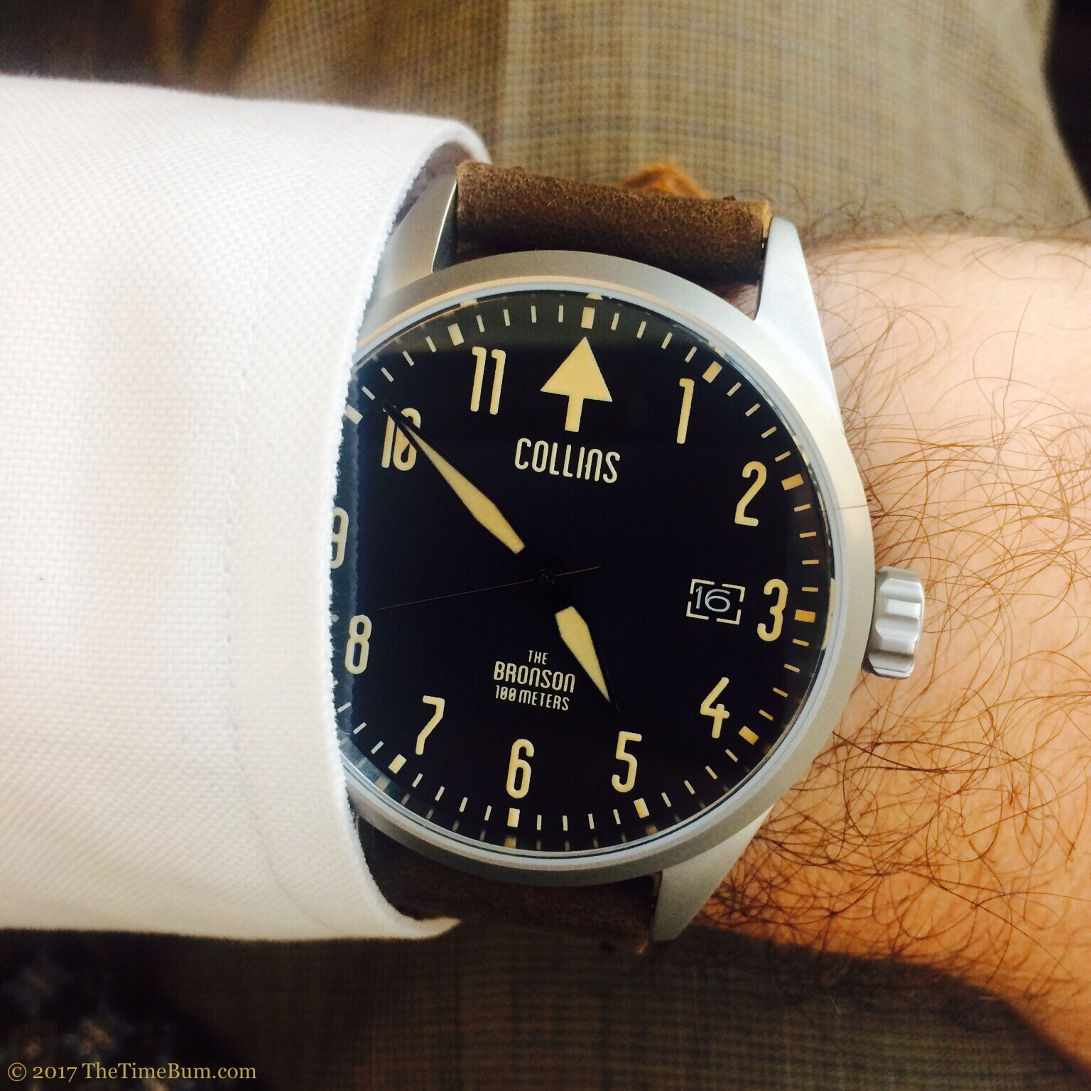 Collins Watch The Bronson silver bead blasted leather wrist