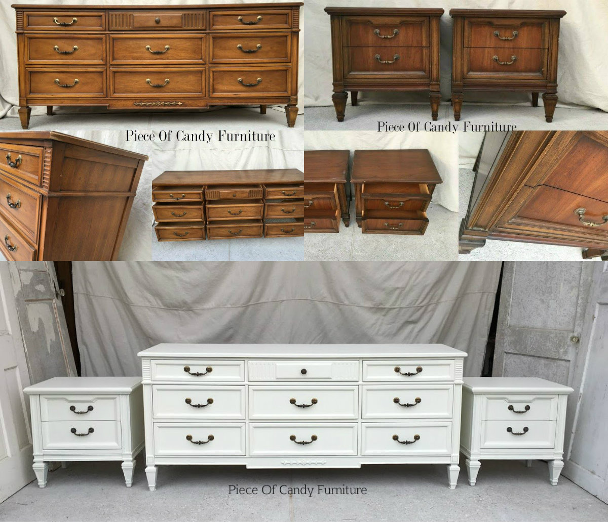 Italian Provincial Dresser Nightstand Set Painted In Antique White.