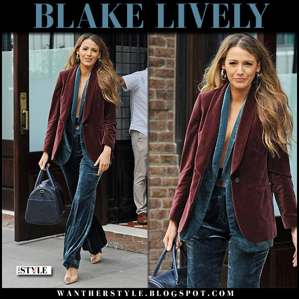 Blake Lively in burgundy velvet blazer and dark blue velvet pants brunello cucinelli fall fashion celebrity