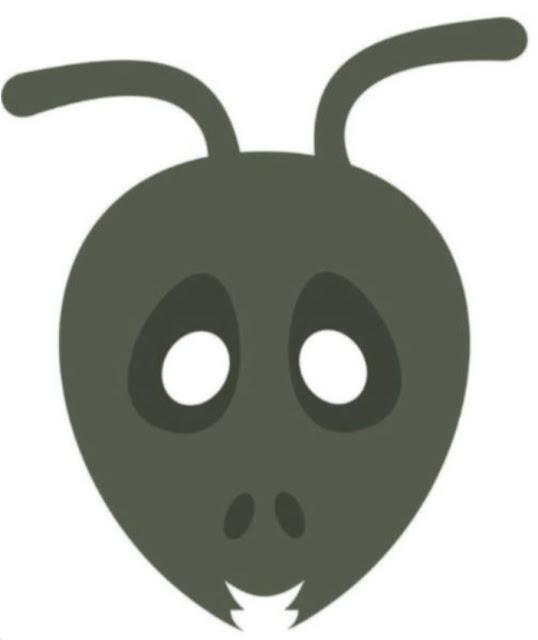 Máscara de hormiga roja o negra en color para imprimir