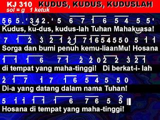Lirik dan Not Kidung Jemaat 310 Kudus, Kudus, Kuduslah