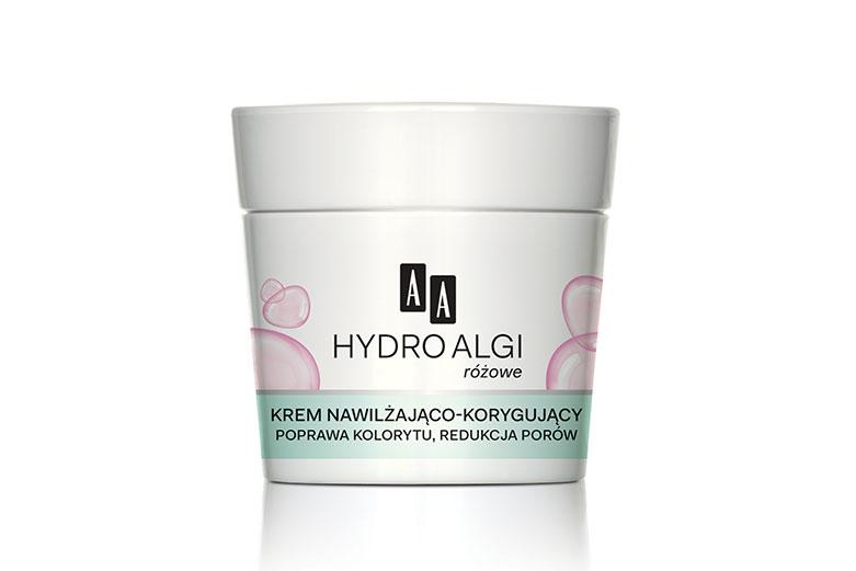 AA HydroAlgi Różowe Krem nawilżająco-korygujący, poprawa kolorytu, redukcja porów