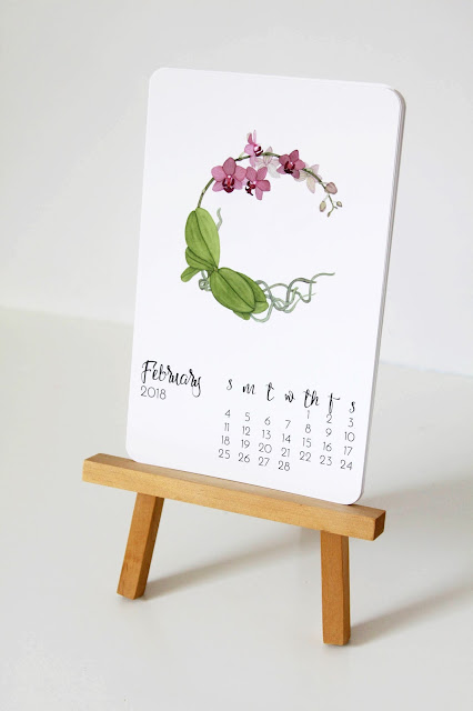 botanical watercolor, watercolor, watercolor orchid, 2018 Calendar, Anne Butera, My Giant Strawberry