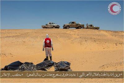 العثور على 20 جثة لمهاجرين غير شرعيين على الحدود الليبية بمنطقة الرمال