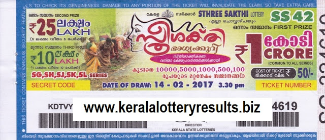 Results lottery Sthree Sakthi 14