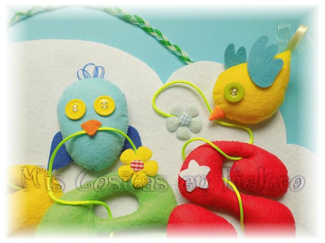 nombre, guirnalda, rótulo, bebé, fieltro, niños, regalo, nacimiento, pájaro, pajarito, nube