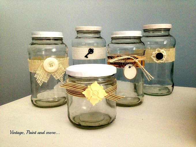 Vintage, Paint and more... recycled jars for organizing, decorated jars, using burlap and twine on jars