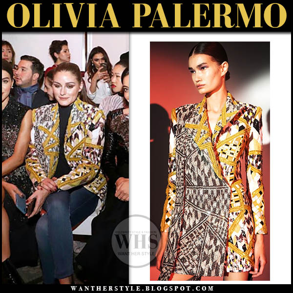 Olivia Palermo in mustard embellished blazer rami kadi fashion week style january 2019