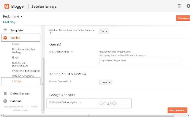 Mengatur ID Property Analytics di Blogger