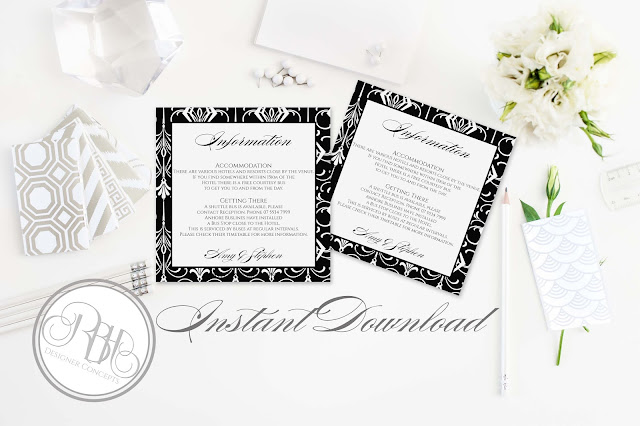 black white art deco information card by rbhdesignerconcepts