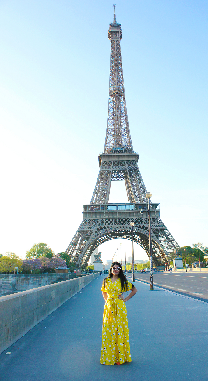 Eiffel Tower fashion photo, Paris street style, Yellow Dress, eshakti yellow dress, Maxi dresses for summer, photo in front of Eiffel tower