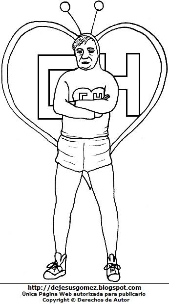 El Chapulín Colorado con su corazón para colorear e imprimir. Dibujo del Chapulín Colorado de Jesus Gómez