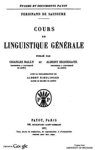 كتاب فرديناند دو سوسير، Cours de linguistique générale، طبعة 1971.