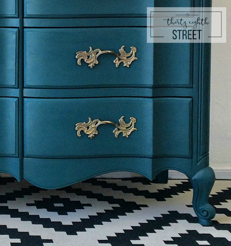 Painted peacock blue dresser makeover thirty eighth street How to redo your room without spending money