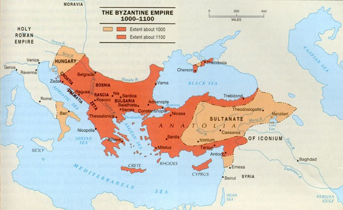 Mapa do Império Bizantino (346-395)