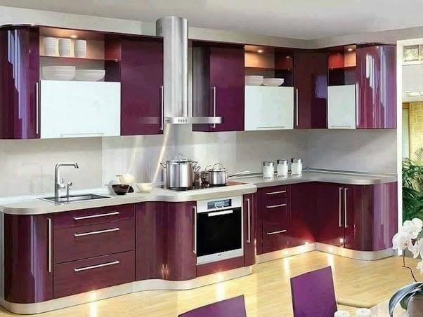 Model Dapur Modern Mewah Nuansa Ungu 023
