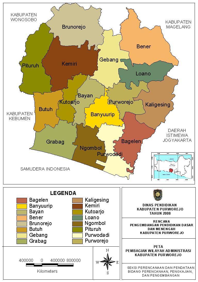 Peta Kota: Peta Kabupaten Purworejo