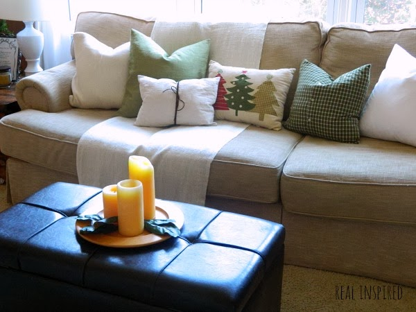 Couch of DIY Christmas Pillows