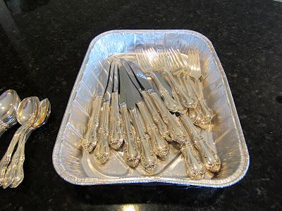 silverware in roasting pan - cleaning silver