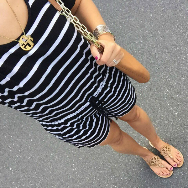 monogram necklace, striped romper
