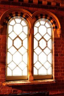 One of Wellingborough railway station's original leaded windows