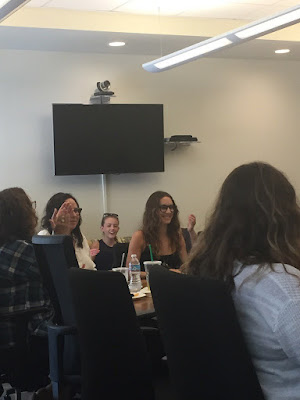 PLL behind-the-scenes director and actress Troian Bellisario at table read 7x15