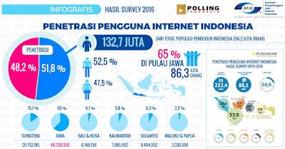 Hasil Statistik Pengguna Internet Indonesia 2016