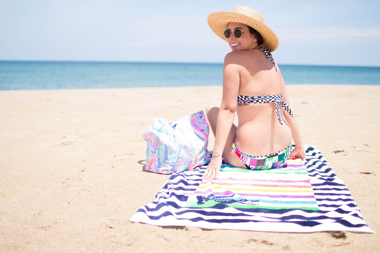 Mara Hoffman Bikini. | A.Viza Style | dc blogger. lilly pulitzer beach bag. lacoste beach towel. mara hoffman bikini. jcrew straw hat.