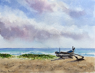 water colour painting of a boat at the beach on Arches cold pressed paper. By Manju Panchal
