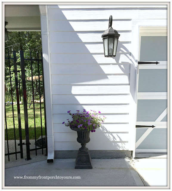 Garage Door Makeover-Detached Garage-Urn With Flowers-Farmhouse-From My Front Porch To Yours