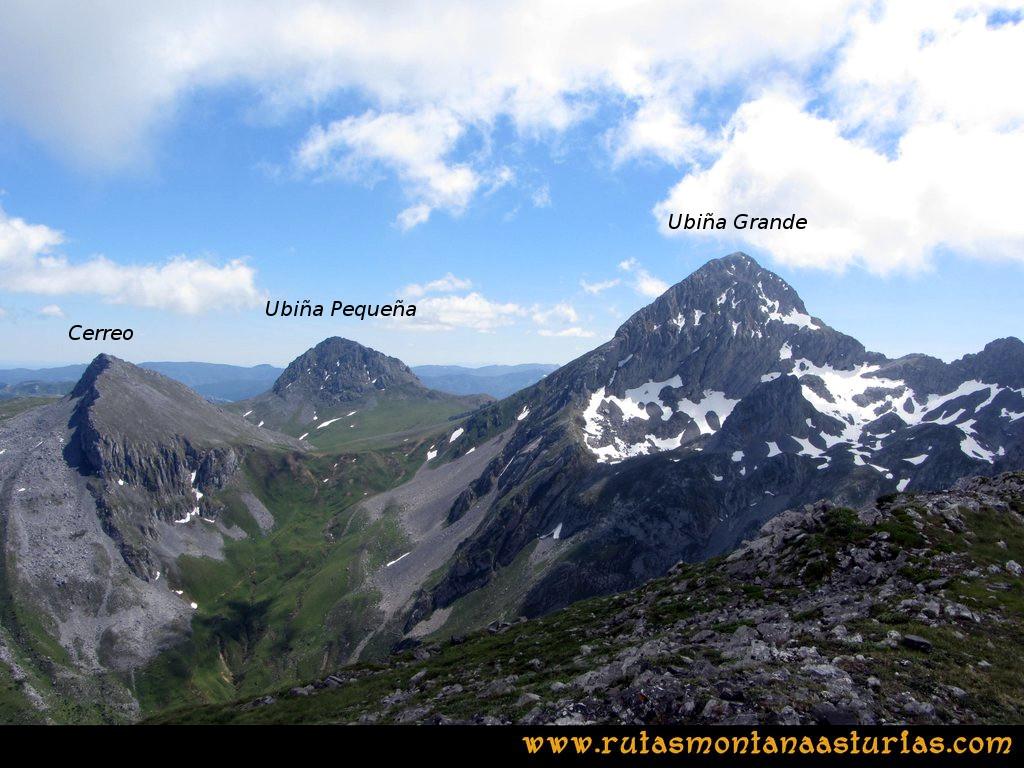 Ruta Tuiza Fariñentu Peña Chana: Vista de Peña Ubiña desde el Prau del Albo