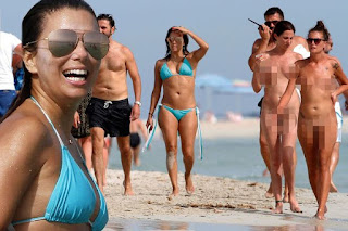The star didn't seem to notice the passersby going au naturel by the sea in Ibiza   Eva Longoria has been spotted walking around a nude beach - and seemed totally oblivious to the bare boobs and bums. The actress is in Ibiza with her new hubby Jose Baston, and despite being there to host the Global Gift Gala, she has found some time to soak up the sun.