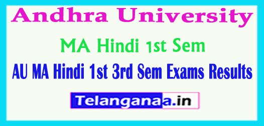 AU Andhra University MA Hindi 1st 3rd Sem 2018 Exam Results