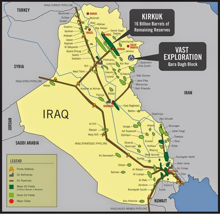 Iraq Oil Pipeline Amp Fields Map