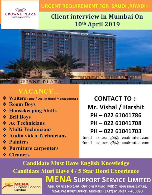 Urgent Requirement for Saudi Arabia-Client Interview in Mumbai 10-4-2019