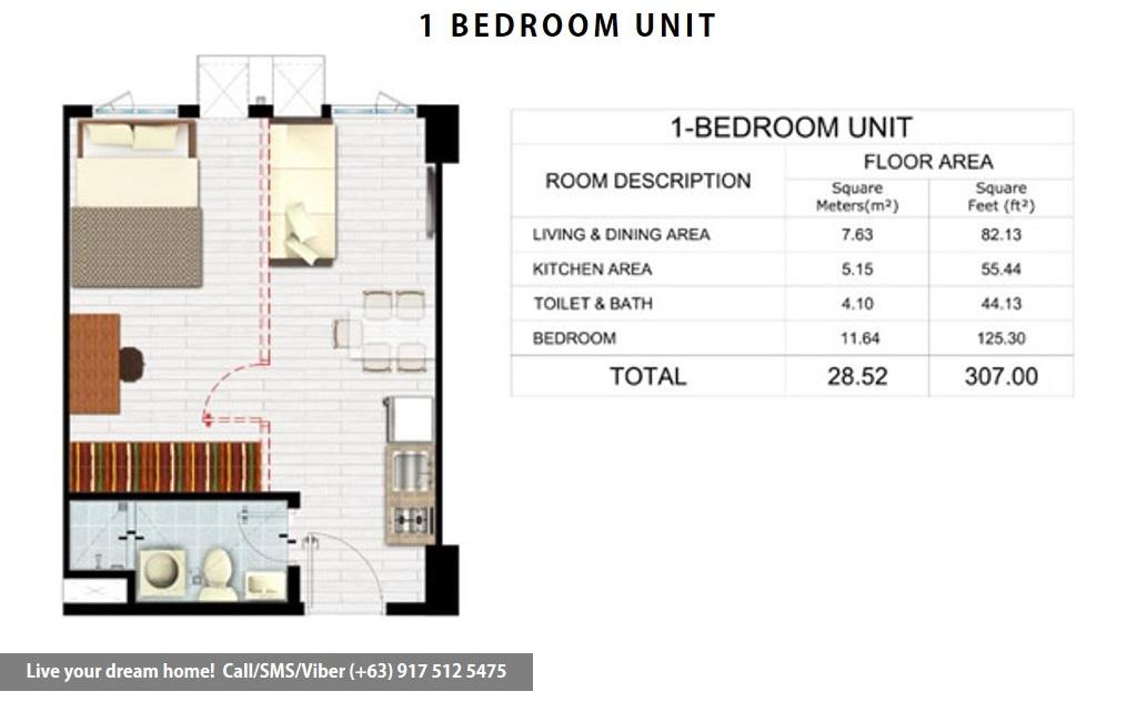 Floor Plan of SMDC Park Residences - 1 Bedroom Unit | Condominium for Sale Santa Rosa Laguna