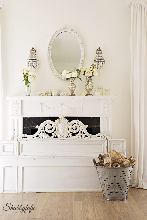 fireplace styled for winter