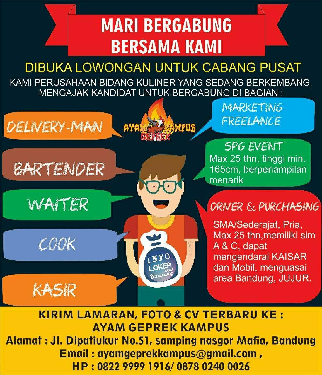 Lowongan Kerja Ayam Geprek Kampus Bandung April 2018