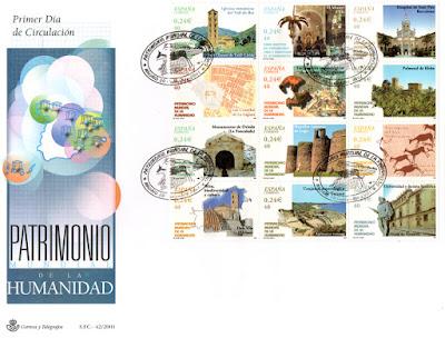 Sobre PDC 2001 de la serie de sellos dedicados al Patrimonio de la Humanidad