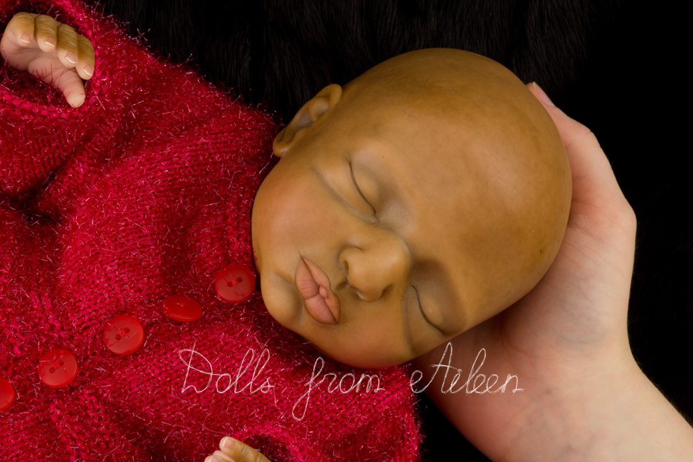 OOAK Hand Sculpted Sleeping Indian Baby Girl Doll With Human Hand