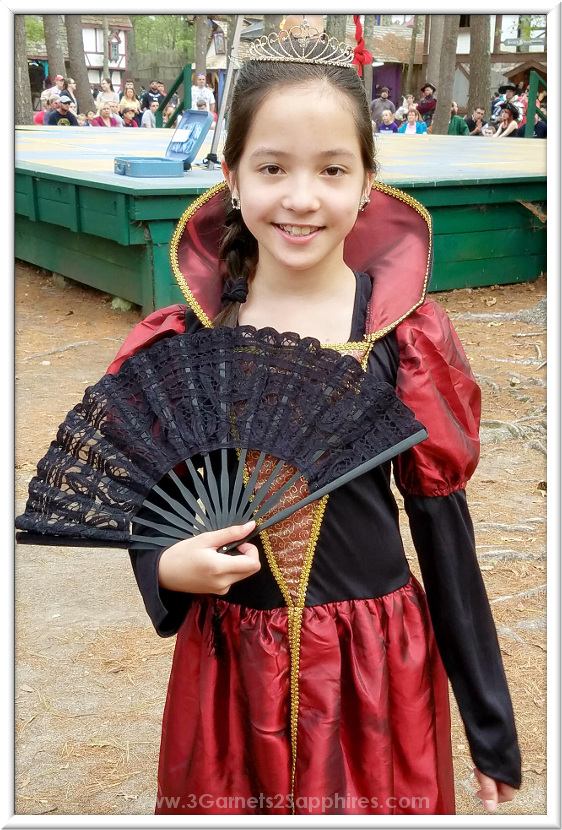 Renaissance Princess Costume with Lace Fan at King Richard's Faire  |  3 Garnets & 2 Sapphires