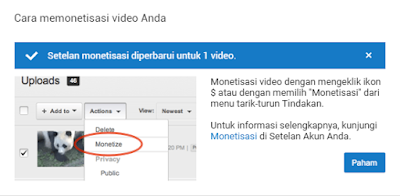 Step by step memasang iklan di youtube