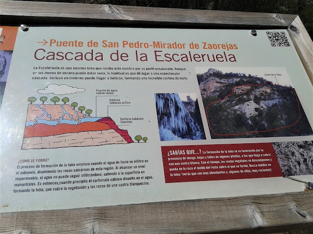 Cascada de la Escaleruela panel explicativo