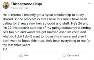 """I don't want to lose this man"" Confused 22-year-old lady contemplates giving up scholarship to study abroad because her boyfriend doesn't approve"