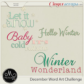 December 2015 Word Art Challenge by Miss Mis Designs