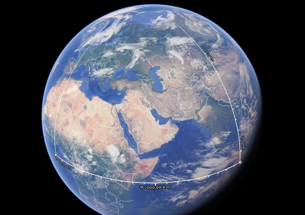 Maapallo, jolle piirretty edellä esitetty kuva.