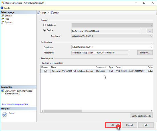 Setup AdventureWorks Database in Microsoft SQL Server 2014